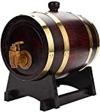 Vintage Wood Oak Timber Wine Barrel Dispenser American Oak Aging Barrel for Storing Whiskey, Beer, Wine, Bourbon, Tequila, Rum, Hot Sauce, DIY Your Taste (1.5L)
