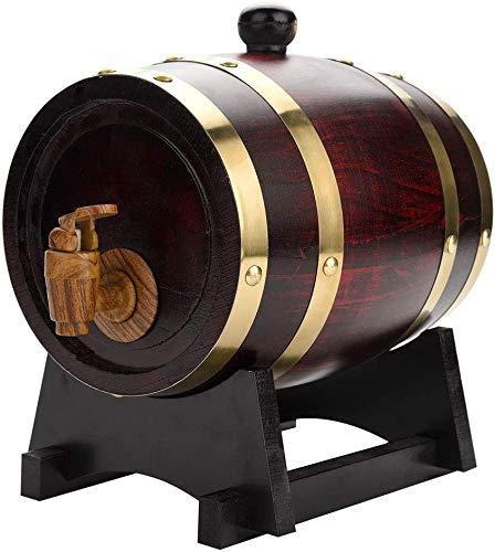Vintage Wood Oak Timber Wine Barrel Dispenser American Oak Aging Barrel for Storing Whiskey, Beer, Wine, Bourbon, Tequila, Rum, Hot Sauce, DIY Your Taste (1.5L)