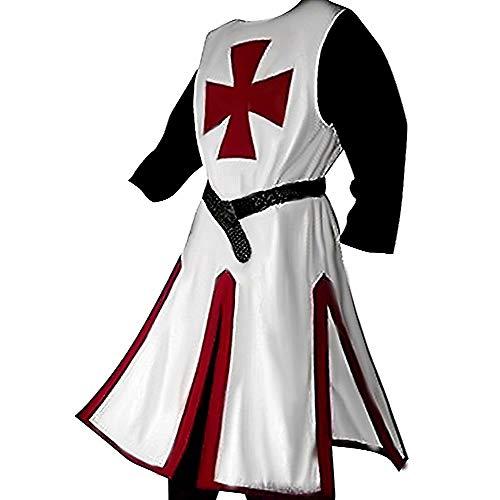 LuBHnna Túnica de Caballero Medieval Cruzado Caballero templario Disfraz de Guerrero túnica Capa Abrigo Disfraz de Halloween Disfraz