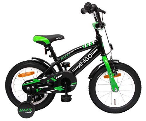 Amigo BMX Fun- Vélo Enfant pour garçons - 14 Pouces - avec Frein à Main, Frein à rétropédalage, Sonnette de vélo et stabilisateurs vélo - à partir de 3-4 Ans - Noir/Vert