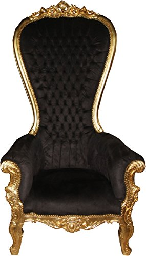 Casa Padrino Baroque Throne Armchair Majestic Mod1 Black/Gold - Giant Armchair - Throne Chair
