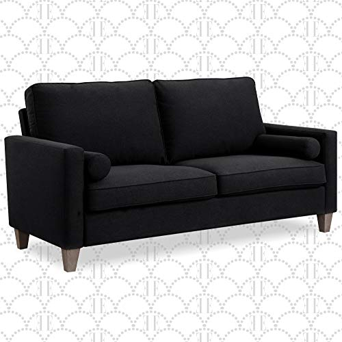 """Elle Decor Porter Upholstered Loveseat Sofa, Contemporary Track Arm Living Room Couch for Small Space, Natural Wood Finish Legs, French Black, 75"""""""