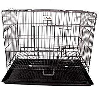 DOGBIT Black Cage/Crate/Kennel with Removable Tray for Dogs/Cats (18 INCH, Black)