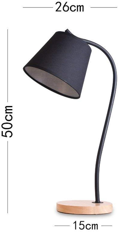 AOLI Tischlampe Retro Industrial Style Tischlampe Schlafzimmer Nachttischlampe, Studie Wohnzimmer Büro Tischlampe Massivholz Lampensockel Schwarz