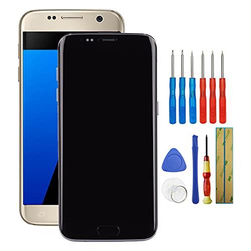 Fruisiy OLED Display für Samsung Galaxy S7 Edge G935F SM-G935F, SM-G935FD, SM-G935W8 Mit Rahmen Glas Ersatz Touchscreen + Werkzeug