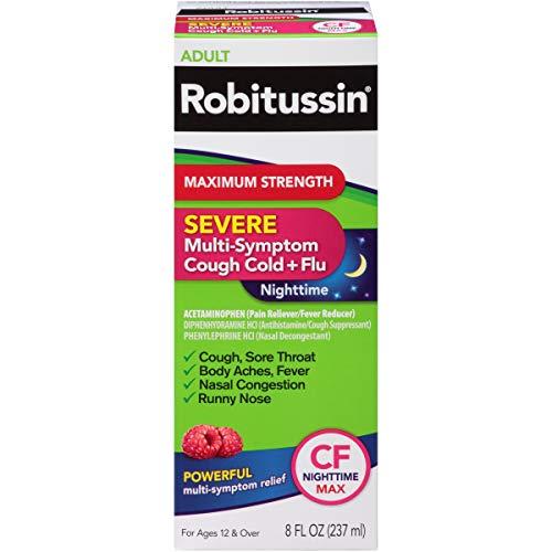 Robitussin Maximum Strength Severe Multi-Symptom Cough Cold + Flu CF Nighttime Pain Reliever/Fever Reducer Liquid 8 fl. oz. Box