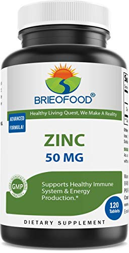 Brieofood Zinc 50mg (from Zinc Gluconate), 120 Days Supply - Immune Support - 120 Tablets