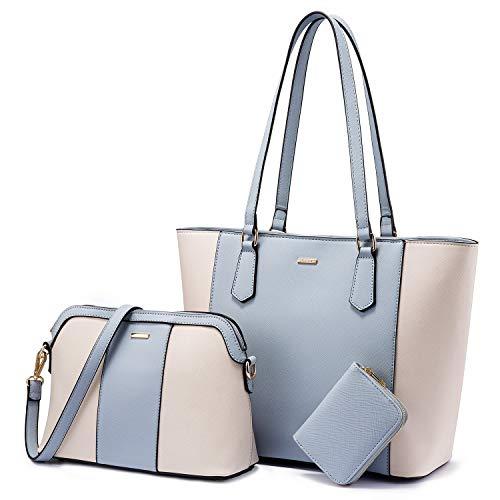 LOVEVOOK Handtasche Damen Gross Handtaschen Set Taschen groß Handtaschen für Frauen Damen-henkeltaschen Shopper Schultertasche (Beige hellblau beige)