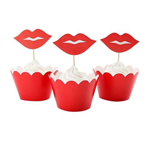 12 pcs lèvre pour cupcakes Wrapper kit pour la Saint Valentin fête Décoration de gâteaux