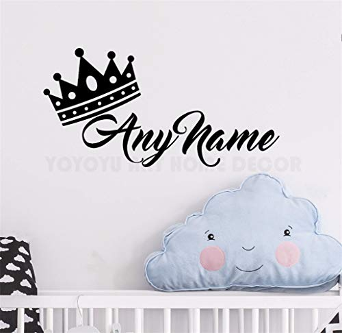Aufkleber Wandaufkleber Personalisierter Name Princess Crown Customade Prinz Name Schlafzimmer Kinderzimmer Dekor