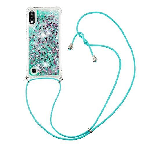 Flüssig Treibsand Silikon TPU Bumper Hülle (Mit Lanyard )für Samsung Galaxy M10 / A10 (Grüne Liebe)