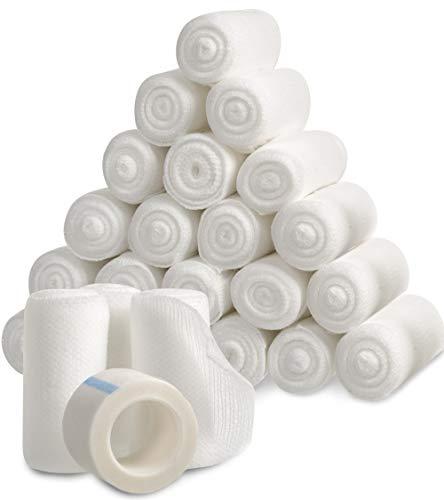 Gauze Bandage Rolls w/Tape (24-Pack) 2-in Wide Stretch Bandage Roll - 4yds Rolled Gauze Wrap - Gauze Bandage Wrap - Wrapping Gauze Rolls - White Cotton Bandage Wrap Supplies - Rolled Gauze Bandages
