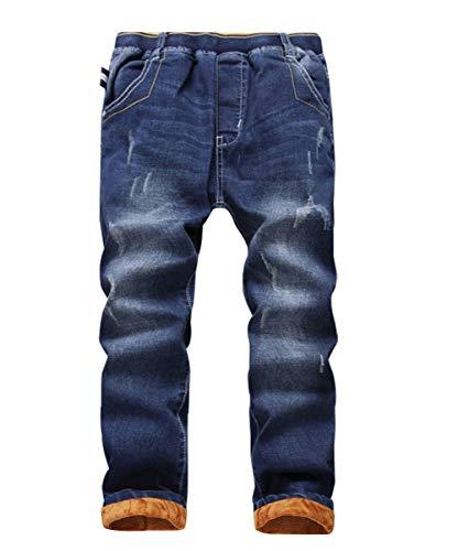 YoungSoul Jungen Gefütterte Jeanshose Winter Kinder Thermohose Jeans mit Elastischem Bund und Abschürfungen, Regular blau, Größe 170/164-170