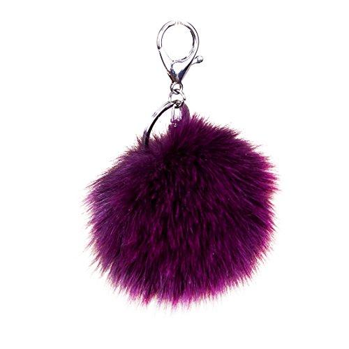 URSFUR Weiche Kleine Fellbommel aus Fuchspelz Schlüssel Anhänger Schlüsselring Auto Schlüsselanhänger - lila