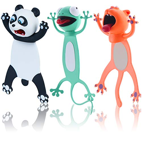 3D Stereo Wacky Animal Cartoon Bookmarks, Funny Reading Bookmarks for Student School Stationery Children Creative Bookmarks Gift (Cat+Frog+Panda)