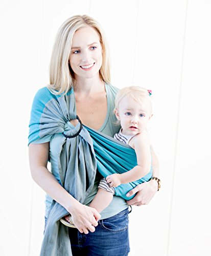 Moby Ring Sling Baby Carrier (Ocean Twist) - Ring Sling Carrier for Babywearing -Baby Sling for Baby Wearing, Breastfeeding, and Keeping Baby Close - Baby Carrier for Newborns, Infants, and Toddlers
