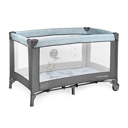 Innovaciones MS - Cuna de viaje 120 x 60 cm, bebe, incluido colchóncito y bolsa de transporte, de 0+ meses hasta 15 kg, plegado y montaje fácil. Es ligera y estable - Azul/Gris