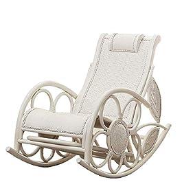 Accueil Équipement Chaise à bascule Chaise à bascule en rotin véritable naturel Chaise à bascule en bois de rotin blanc…