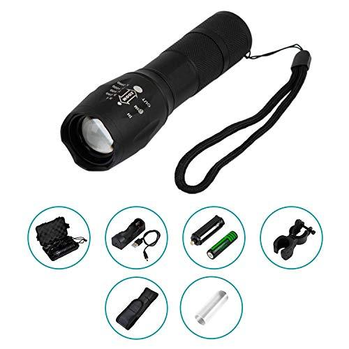 USB-oplaadbare krachtige led-zaklamp. Tactische en waterdichte zaklamp, ideale led-zaklamp voor kamperen, jagen of in de auto. Inclusief beschermhoes en fietshouder. Zwart