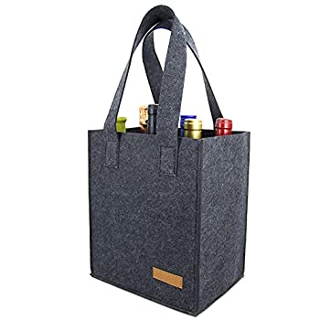 6 Bottle Wine Carrier Tote Reusable Grocery Bags for Travel Camping and Picnic Perfect Wine Lover Gift