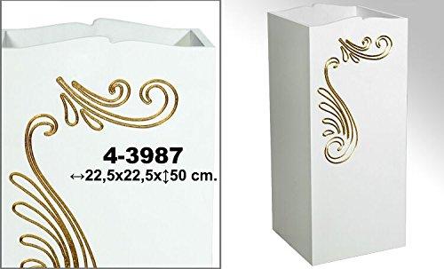 DonRegaloWeb–Portaombrelli in Legno Decorato con Disegni, Colore: Bianco e Oro