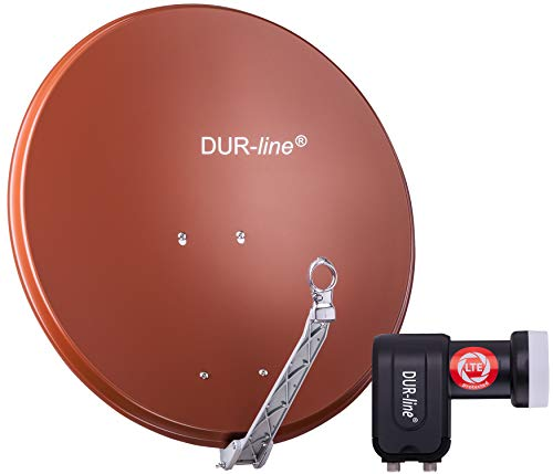 DUR-line 2 Teilnehmer Set - Qualitäts-Alu-Satelliten-Komplettanlage - Select 75cm/80cm Spiegel/Schüssel Rot + Twin LNB - für 2 Receiver/TV [Neuste Technik, DVB-S2, 4K, 3D]