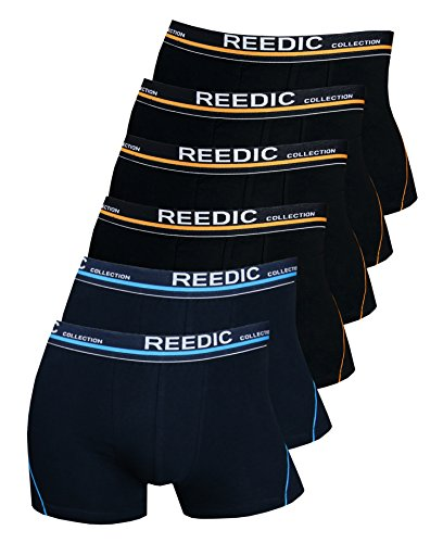 Reedic Herren Boxershorts Baumwolle 6er Pack, Größe XX-Large (2XL), Farbe je 4X schwarz, je 2X dunkelblau