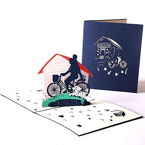 3 Stücke 3D Pop-Up Vatertag Grußkarte Stereo Papier Schnitzen Geburtstagsgeschenk Diy Segenkarte Erntedankfest Weihnachten Neujahrsgeschenk An Papa-#B. Grußkarten Danke Karte
