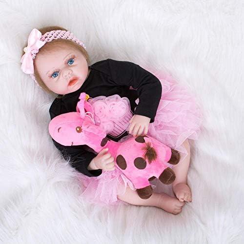 Hongge Reborn Baby Doll,Lebensechte Silikon Reborn Puppe Spielzeug Sieht echte Neugeborene Puppe Geburtstagsgeschenk 55cm