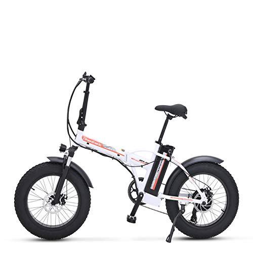 Sheng milo mx20 plegable vehículo eléctrico 500W 48V 15ah bicicleta de montaña adulto (blanco, Añadir una batería extra)