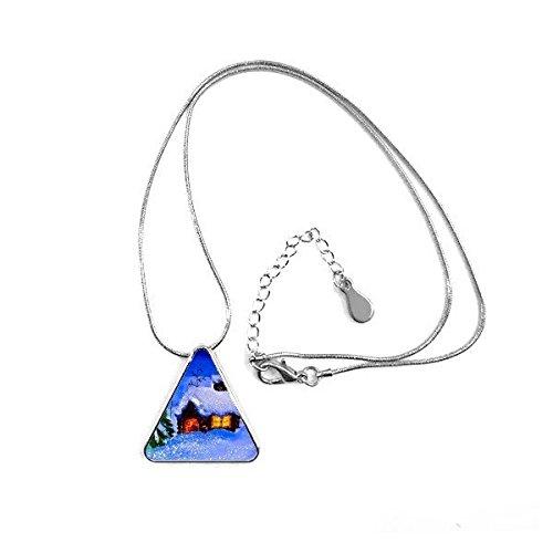 DIYthinker Malerei Öl Winter-Baum-Haus Schnee Schornstein Rauch Illustration Muster Dreieck-Form Halskette Schmuck mit Kette Dekoration Geschenk
