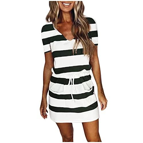 Damen Kleid mit V-Ausschnitt Elegant Kurze Strand Freizeitkleider Sommerkleid Streifen Loose T-Shirt Kleid Minikleid lässiges lockeres gestreiftes Print-Krawatte V-Ausschnitt Kurzarmkleid