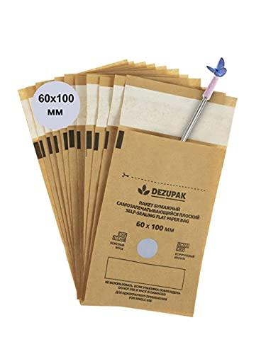 DEZUPAK 100 Bolsas de Esterilización Autoclave Instrumentos manicura pedicura con indicador y sellado (60X100)