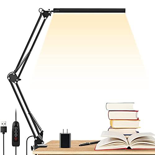 Lámpara de escritorio LED, con brazo oscilante de metal, con abrazadera, 30 brillos regulables, con función de memoria/adaptador USB, lámparas de escritorio de mesa de arquitecto para oficina en casa