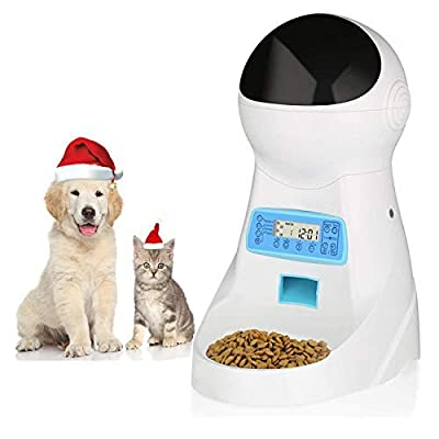 amzdeal Automatic Cat Feeder Pet Feeder Cat Food Dispenser 4 Meals A Day with Timer Programmable Portion Control Voice Recorder 3L Capacity for Cats and Dogs
