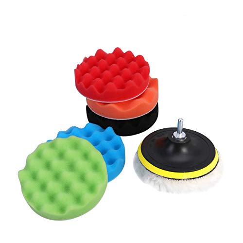 WINOMO - Juego de 7 esponjas para pulir, autoadhesivas, discos de lana,...