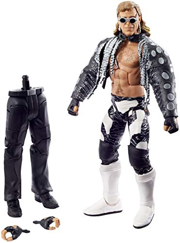 WWE Wrestlemania 37 Elite Collection Shawn Michaels Action Figure with Entrance VestSunglasses and Paul Ellering and Rocco BuildAFigure Pieces6 in Posable Collectible Gift Fans