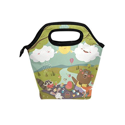 Animaux de la forêt Funny repas isotherme Sac fourre-tout pour femme Lunch Box Cooler avec fermeture à glissière pour adultes/enfants filles, garçons, hommes