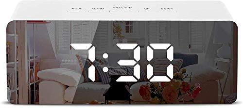 HUIQ Reloj Despertador con Espejo LED Reloj Despertador Digital HD con Dos Modos de alimentación y Modo de repetición 3 Pantallas LED con 3 Modos de atenuación para Dormitorio, Sala de Estar