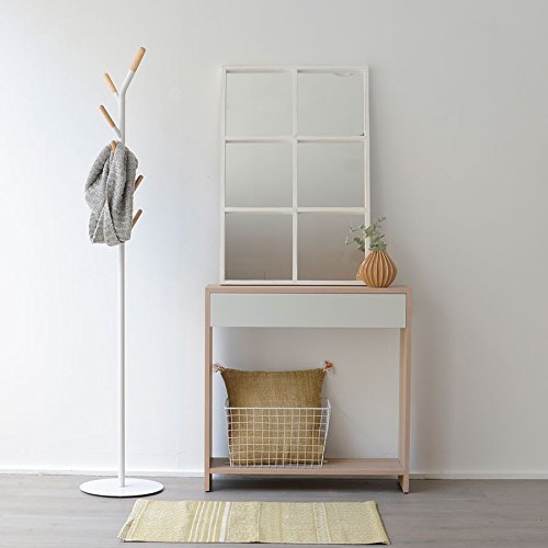 Kenay Home Luci Espejo, Madera, Blanco, 90x5x60 cm