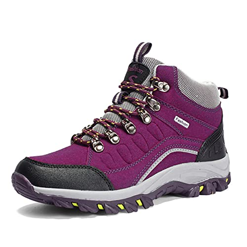 Botas De Nieve Senderismo Impermeables Deportes Trekking Zapatos Invierno Forro Piel Sneakers Hombre Mujer,Púrpura,40 EU