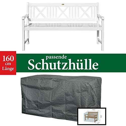 Landhausbank LÜBECK weiß lackiert, 3-Sitzer aus Eukalyptus 100% FSC, B 154 x H 89 x T 59 cm - 6
