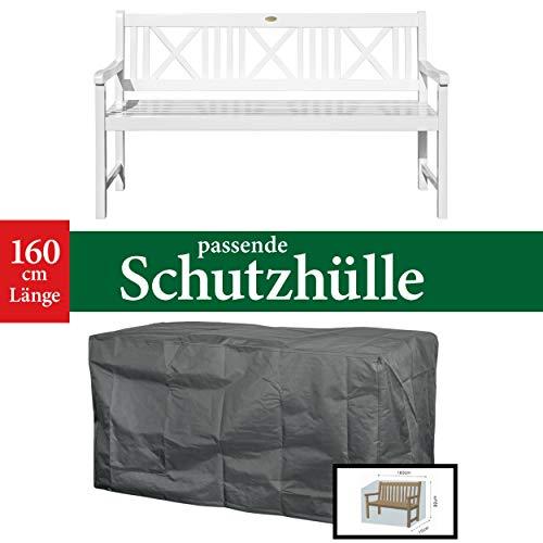Landhausbank LÜBECK weiß lackiert, 3-Sitzer aus Eukalyptus 100% FSC, B 154 x H 89 x T 59 cm - 4