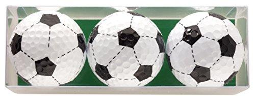 Golfbal cadeauset voetbal bestaande uit 3 bedrukte golfballen in geschenkdoos - een leuk cadeau voor elke voetballiefhebber golfer