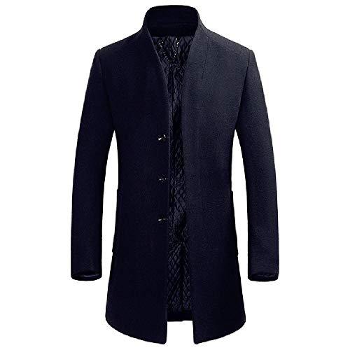 OKJI mannen winterjas mannen casual effen kleur staande kraag eenvoudige dikke erwt jas mannelijke Trench jas mode overjas