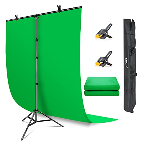 EMART Green Screen Backdrop with Stand, 5x7 ft Collapsible Greenscreen with Portable T-Shaped Background Support Kit, 5x8.5 ft Adjustable Stand for Streaming, Gaming, Zoom