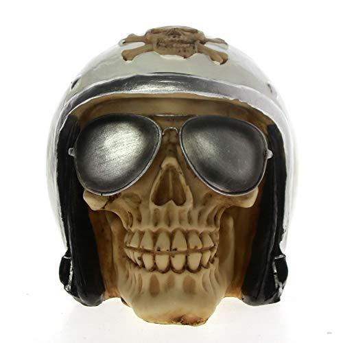 LIAOLEI10 sculptuur schedel met piloot helm en piloot tinten Skeleton beeldje sculptuur Halloween Decor Fighter Jet vliegtuig piloot schedel standbeeld