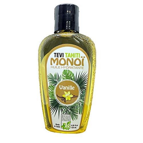Aceite autobronceador vainilla, monoi Tahiti 98% puro, autobronceador, acelerador natural del bronceado, bronceado rápido sensual, botella de vidrio de 120 ml, vegano, libre de crueldad