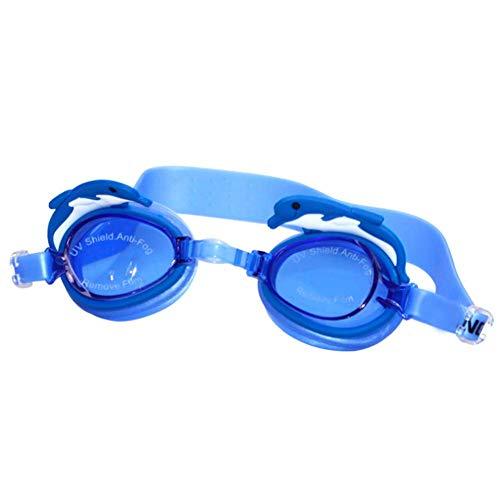 JiuXiuHeiShan-MY Gafas para Nadar Niños Monos y cómodos, Planos, Transparentes, Impermeables, para niños y niñas, Gafas antivaho para Buceo,Sky Blue