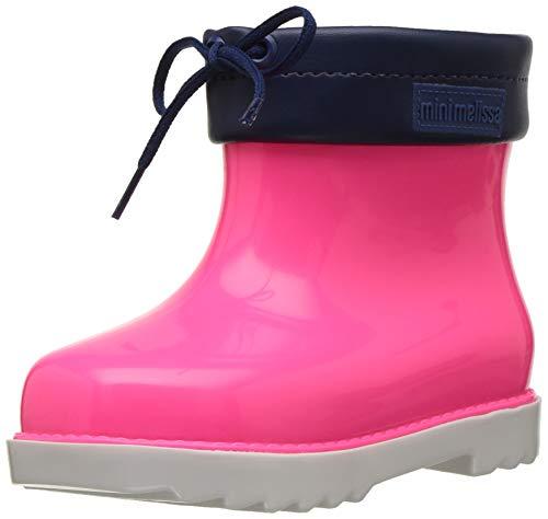 mini melissa Girls' Mini RAIN Boot Shoe, White pnk blu, 5 Medium US Toddler